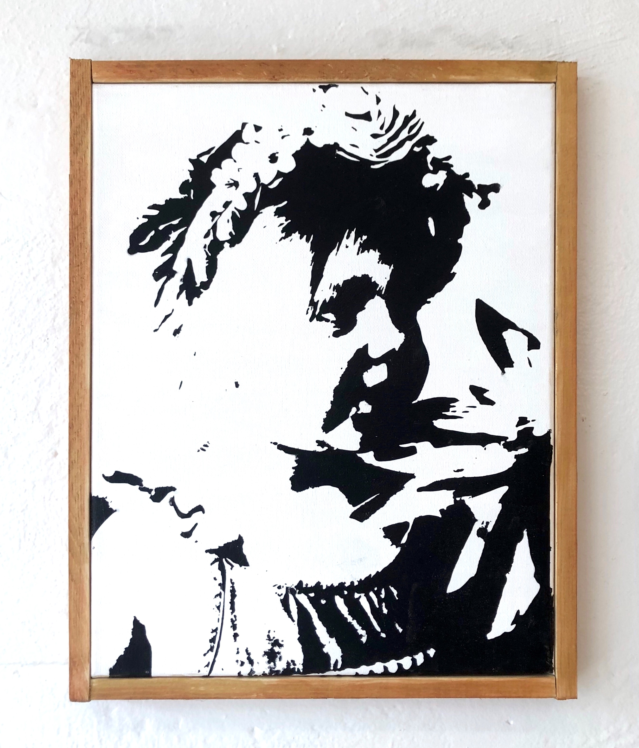 Custom Stencil Portrait on 11x14 Canvas, with wood frame - Uncorked ...