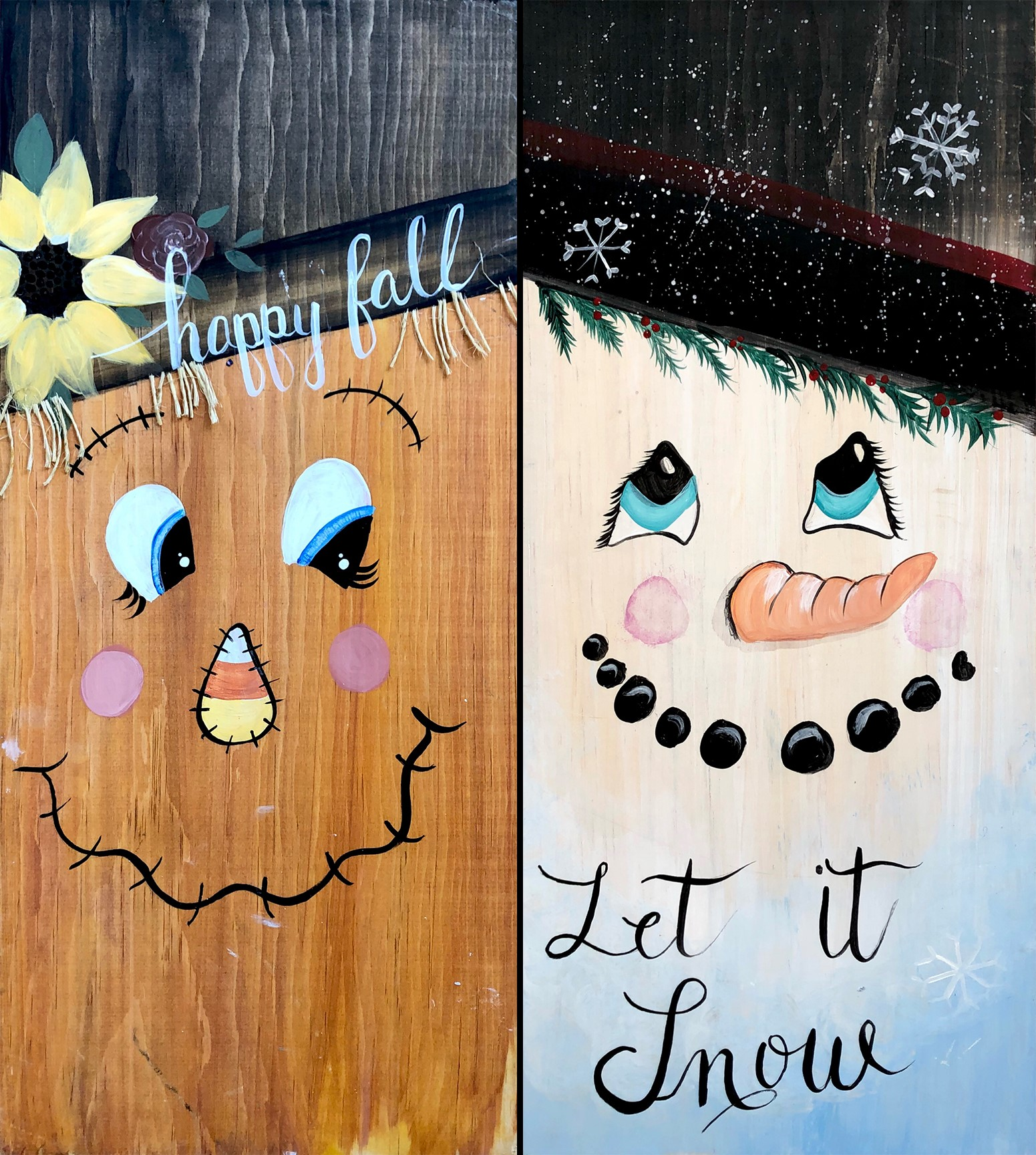 Let It Snowhappy Fall Double Sided Wood Sign 37person Class